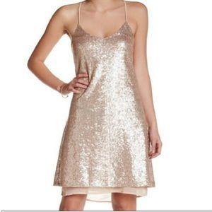 Nordstrom Free Press Gold Sequin Slip Dress {M}